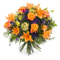 Special bouquet with orange roses
