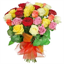 A bouquet of colourful roses