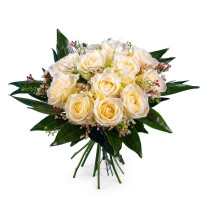 15 Short-stemmed White Roses
